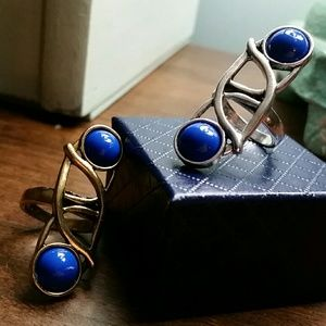 Silver Ring with Blue Stones